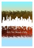 Vit Ho Chi Minh City horisont som är blå och royaltyfri illustrationer