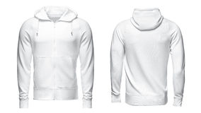 Vit hoodie, tröjamodell som isoleras på vit bakgrund royaltyfri bild