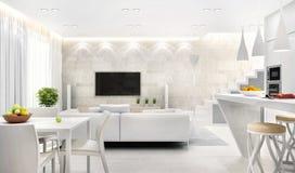Vit inre av modernt kök som kombineras med vardagsrum royaltyfri bild