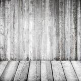 Vit inre för abstrakt grunge med trägolvet Royaltyfria Bilder