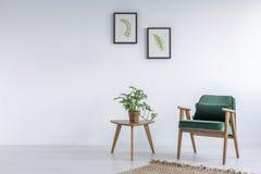 Vit inre med grönkålgräsplanstol arkivbild