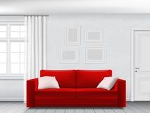 Vit inre och röd soffa stock illustrationer