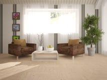 Vit inredesign av vardagsrum med fåtöljer Royaltyfria Foton