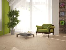 Vit inredesign av vardagsrum med modernt möblemang Arkivbild