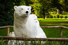 Vit isbjörn i lego i den Planckendael zoo Royaltyfria Foton