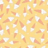 Vit isicreamkotte i gula prickar royaltyfri illustrationer