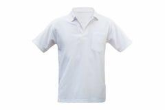 Vit isolerad vit bakgrund för T-tröja framdel Med att fästa ihop PA Royaltyfria Bilder