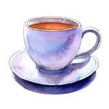 Vit isolerade kopp kaffe för porslin och tefat, vattenfärgillustration vektor illustrationer