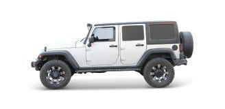 Vit jeep royaltyfria bilder