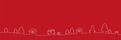 Vit jul gränsar garneringlinjen teckning på röd bakgrund vektor illustrationer
