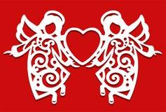 Vit jul som flyger två änglar på den röda bakgrunden Änglar håller hjärtan i deras händer Konturn av ängeln kan royaltyfri illustrationer