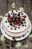 Vit kaka med bär och kex Arkivbild