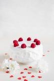 Vit kaka med hallon på vit bakgrund Arkivbilder