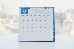 Vit kalender av Juni Royaltyfria Bilder