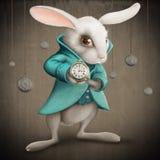 Vit kanin med klockan Arkivbilder