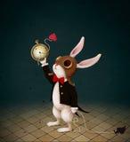 Vit kanin och Tid royaltyfri illustrationer