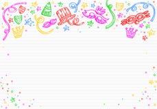Vit karnevalbakgrund med klotter av maskeringar, konfettier och stjärnor överst stock illustrationer
