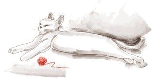 Vit katt med ett garnnystan Fotografering för Bildbyråer