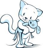 Vit katt med illustrationen för vektor för musleksak den gulliga Royaltyfri Foto