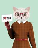 Vit kattflickauppklädd i klassisk retro stil stock illustrationer