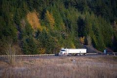 Vit klassisk lastbil med släp på huvudvägbakgrundshöst Arkivbilder