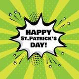 Vit komisk bubbla med lyckligt Sts Patrick dagord på grön bakgrund också vektor för coreldrawillustration royaltyfri illustrationer