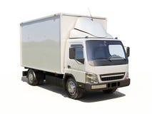 Vit kommersiell leveranslastbil Arkivfoton