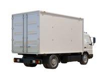 Vit kommersiell leveranslastbil Fotografering för Bildbyråer