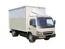 Vit kommersiell leveranslastbil Arkivbilder