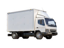 Vit kommersiell leveranslastbil Arkivfoto