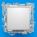 Vit komplex maskineriskylt och ram på blått Arkivfoto