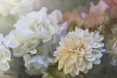 Vit konstgjord blomma i trädgården Royaltyfri Fotografi
