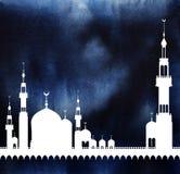 Vit kontur av moskén mot bakgrunden av ett mörker vektor illustrationer