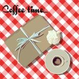 Vit kopp för vektor Kaffe med marshmallows royaltyfri illustrationer