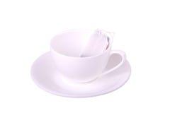 Vit kopp och tepåse Royaltyfria Bilder