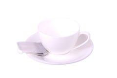 Vit kopp och tepåse Fotografering för Bildbyråer