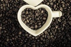 Vit kopp på bakgrund för kaffebönor Royaltyfria Foton