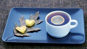 Vit kopp te med citronen p? ett tefat med kakor royaltyfri bild