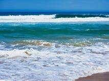 Vit korkad tvagning för Stilla havetvågor på stranden, Australien royaltyfri fotografi