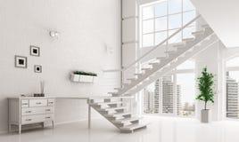 Vit korridor med den inre tolkningen 3d för trappuppgång Arkivbilder