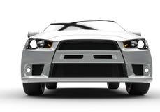 Vit kraftig modern bil på vit bakgrund - Front View Fotografering för Bildbyråer