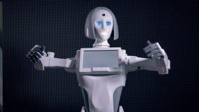 Vit kropp av bioniska flickadanandeflyttningar stock video