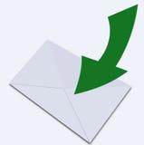 Vit kuvert och pekare. Illustration Arkivfoto