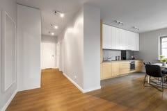 Vit lägenhet med ädelträgolvet royaltyfria foton