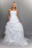 Vit lång bröllopsklänning för härlig blond brud på grå färger Royaltyfria Bilder