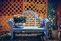 Vit lös krysantemum i gardenï¼en ŒBonsai på en blå stol vektor illustrationer
