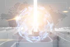 Vit labyrint med en stråle av ljus, världskartahologram royaltyfri illustrationer