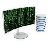 Vit LCD-tvskärm med serverhårddisken Royaltyfria Bilder