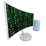 Vit LCD-tvskärm med serverhårddisken Royaltyfri Foto