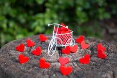 Vit leksakcykel som bär röda trähjärtor Röda trähjärtor faller på trägolvet denformade leksaker framför till valentins dag royaltyfria foton
